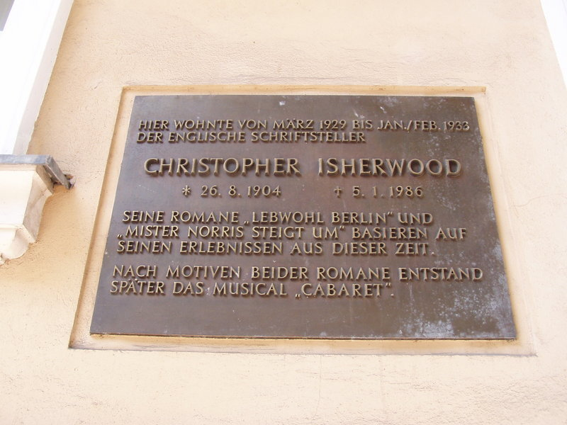Plaque on the former lodgings of Christopher Isherwood, Nollendorfstraße 17
