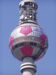 Berlin's television tower decorated to look like a football