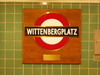 London Underground style sign at Wittenbergplatz Station