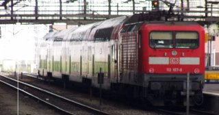 A regional express train at Berlin's Ostbahnhof